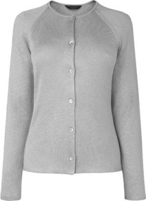 Alexis Metallic Cardigan Silver - neckline: round neck; pattern: plain; bust detail: buttons at bust (in middle at breastbone)/zip detail at bust; predominant colour: silver; occasions: casual, evening, work; length: standard; style: standard; fibres: polyester/polyamide - 100%; fit: standard fit; sleeve length: long sleeve; sleeve style: standard; texture group: knits/crochet; trends: metallics; pattern type: knitted - fine stitch; pattern size: standard
