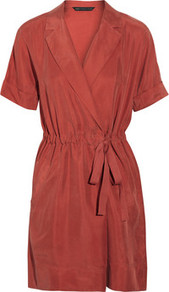 Stevie Brushed Silk Dress - style: faux wrap/wrap; length: mid thigh; neckline: v-neck; fit: fitted at waist; pattern: plain; waist detail: belted waist/tie at waist/drawstring; predominant colour: terracotta; occasions: casual, evening, work, holiday; fibres: silk - 100%; hip detail: soft pleats at hip/draping at hip/flared at hip; sleeve length: short sleeve; sleeve style: standard; texture group: silky - light; pattern type: fabric