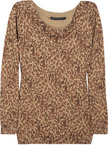 Leopard Print Knitted Cotton Sweater - neckline: round neck; length: below the bottom; style: standard; predominant colour: tan; occasions: casual, work; fibres: cotton - 100%; fit: standard fit; sleeve length: long sleeve; sleeve style: standard; texture group: knits/crochet; pattern type: knitted - fine stitch; pattern size: small & busy; pattern: animal print