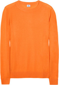 Fine Knit Cashmere Sweater - neckline: round neck; style: standard; predominant colour: bright orange; occasions: casual, work; length: standard; fit: standard fit; fibres: cashmere - 100%; sleeve length: long sleeve; sleeve style: standard; texture group: knits/crochet; pattern type: knitted - fine stitch