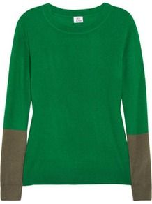 Color Block Cashmere Sweater - neckline: round neck; style: standard; predominant colour: emerald green; occasions: casual, work; length: standard; fit: standard fit; fibres: cashmere - 100%; sleeve length: long sleeve; sleeve style: standard; texture group: knits/crochet; pattern type: knitted - fine stitch; pattern size: big & light; pattern: colourblock
