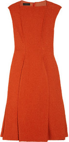 Mauri Tweed Dress - style: shift; sleeve style: capped; pattern: plain; waist detail: fitted waist; predominant colour: bright orange; occasions: evening, work, occasion; length: on the knee; fit: fitted at waist & bust; fibres: nylon - 100%; neckline: crew; hip detail: structured pleats at hip; sleeve length: sleeveless; trends: glamorous day shifts; pattern type: fabric; pattern size: standard; texture group: tweed - bulky/heavy