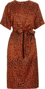 Animal Print Silk Twill Dress - style: shift; fit: tailored/fitted; waist detail: belted waist/tie at waist/drawstring; predominant colour: terracotta; occasions: casual, evening, work, holiday; length: on the knee; fibres: silk - 100%; neckline: crew; hip detail: sculpting darts/pleats/seams at hip; sleeve length: short sleeve; sleeve style: standard; texture group: cotton feel fabrics; pattern type: fabric; pattern size: small &amp; busy; pattern: animal print