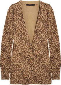 Leopard Print Cotton Cardigan - neckline: plunge; length: below the bottom; bust detail: buttons at bust (in middle at breastbone)/zip detail at bust; predominant colour: tan; occasions: casual, work; style: standard; fibres: cotton - 100%; fit: standard fit; sleeve length: long sleeve; sleeve style: standard; texture group: knits/crochet; pattern type: knitted - fine stitch; pattern size: small & busy; pattern: animal print