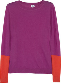 Color Block Cashmere Sweater - neckline: round neck; style: standard; predominant colour: purple; occasions: casual, work; length: standard; fit: standard fit; fibres: cashmere - 100%; sleeve length: long sleeve; sleeve style: standard; texture group: knits/crochet; pattern type: knitted - fine stitch; pattern size: big & light; pattern: colourblock