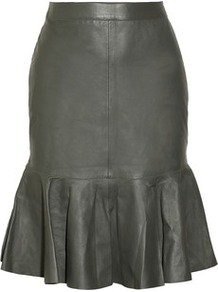 Leather Flared Skirt - pattern: plain; fit: body skimming; waist: high rise; predominant colour: charcoal; occasions: casual, evening, work; length: on the knee; style: fit &amp; flare; fibres: leather - 100%; waist detail: narrow waistband; texture group: leather; trends: sculptural frills; hip detail: ruffles/tiers/tie detail at hip; pattern type: fabric