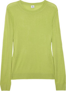 Fine Knit Cashmere Sweater - neckline: round neck; style: standard; predominant colour: lime; occasions: casual, work; length: standard; fit: standard fit; fibres: cashmere - 100%; sleeve length: long sleeve; sleeve style: standard; texture group: knits/crochet; pattern type: knitted - fine stitch
