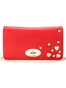 Valentines Leather Clutch - predominant colour: true red; occasions: casual, evening, occasion; type of pattern: small; style: clutch; length: hand carry; size: standard; material: leather; embellishment: studs; pattern: plain; finish: plain