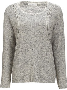 Amelie Pretty Tape Jumper - neckline: round neck; pattern: plain; style: standard; predominant colour: charcoal; occasions: casual; length: standard; fibres: cotton - 100%; fit: standard fit; sleeve length: long sleeve; sleeve style: standard; texture group: knits/crochet; pattern type: knitted - other