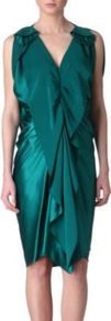 Ruffle Front Silk Dress - style: shift; neckline: low v-neck; pattern: plain; sleeve style: sleeveless; waist detail: fitted waist; bust detail: ruching/gathering/draping/layers/pintuck pleats at bust; predominant colour: teal; occasions: evening, occasion; length: just above the knee; fit: body skimming; fibres: silk - 100%; hip detail: soft pleats at hip/draping at hip/flared at hip; sleeve length: sleeveless; texture group: silky - light; pattern type: fabric