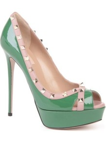Rockstud Leather Platform Courts - predominant colour: emerald green; occasions: evening, occasion; material: leather; heel height: high; embellishment: studs; heel: platform; toe: open toe/peeptoe; style: courts; finish: patent; pattern: plain