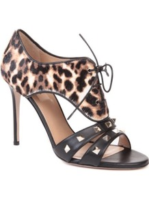 Rockstud Calf Hair And Leather Sandals - predominant colour: black; occasions: evening, occasion; material: leather; heel height: high; embellishment: studs; heel: stiletto; toe: open toe/peeptoe; style: strappy; trends: statement prints; finish: patent; pattern: animal print