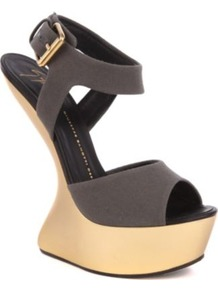 Lady Gaga Canvas Heel Less Sandals - predominant colour: charcoal; occasions: evening, occasion; material: fabric; heel height: high; embellishment: buckles; ankle detail: ankle strap; heel: platform; toe: open toe/peeptoe; style: strappy; trends: metallics; finish: metallic; pattern: plain
