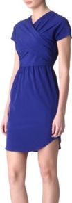 Criss Cross Dress - style: faux wrap/wrap; length: mid thigh; neckline: v-neck; fit: tailored/fitted; pattern: plain; waist detail: fitted waist; bust detail: ruching/gathering/draping/layers/pintuck pleats at bust; predominant colour: royal blue; occasions: evening, work, occasion, holiday; fibres: silk - 100%; hip detail: ruching/gathering at hip; sleeve length: short sleeve; sleeve style: standard; pattern type: fabric; texture group: jersey - stretchy/drapey