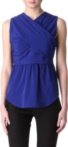 Criss Cross Top - neckline: v-neck; pattern: plain; sleeve style: sleeveless; style: wrap/faux wrap; waist detail: peplum waist detail; bust detail: ruching/gathering/draping/layers/pintuck pleats at bust; predominant colour: royal blue; occasions: evening, work; length: standard; fibres: silk - 100%; fit: body skimming; sleeve length: sleeveless; pattern type: fabric; texture group: jersey - stretchy/drapey