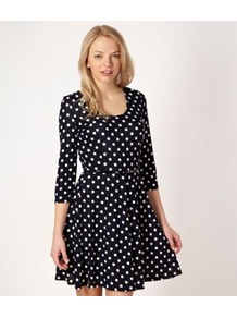 Navy Spotted Jersey Dress - fit: fitted at waist; pattern: polka dot; waist detail: belted waist/tie at waist/drawstring; secondary colour: white; predominant colour: navy; occasions: casual, evening, work, holiday; length: just above the knee; style: fit &amp; flare; neckline: scoop; fibres: polyester/polyamide - stretch; hip detail: soft pleats at hip/draping at hip/flared at hip; sleeve length: 3/4 length; sleeve style: standard; pattern type: fabric; pattern size: small &amp; busy; texture group: jersey - stretchy/drapey