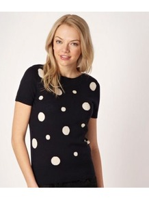 Navy Spotted Short Sleeved Jumper - neckline: slash/boat neckline; pattern: polka dot; style: standard; secondary colour: ivory; predominant colour: navy; occasions: casual, work; length: standard; fibres: cotton - 100%; fit: standard fit; sleeve length: short sleeve; sleeve style: standard; texture group: knits/crochet; pattern type: knitted - fine stitch; pattern size: big &amp; light