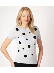 Online Exclusive Light Blue Spotted Short Sleeved Jumper - neckline: slash/boat neckline; pattern: polka dot; style: standard; predominant colour: pale blue; secondary colour: black; occasions: casual; length: standard; fibres: cotton - 100%; fit: standard fit; sleeve length: short sleeve; sleeve style: standard; texture group: knits/crochet; pattern type: knitted - fine stitch; pattern size: big & light