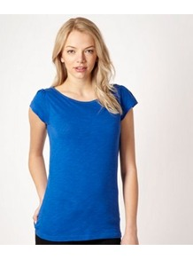 Blue Cap Sleeved Top - neckline: round neck; sleeve style: capped; pattern: plain; length: below the bottom; style: t-shirt; predominant colour: diva blue; occasions: casual; fibres: cotton - 100%; fit: body skimming; shoulder detail: flat/draping pleats/ruching/gathering at shoulder; sleeve length: short sleeve; pattern type: fabric; texture group: jersey - stretchy/drapey