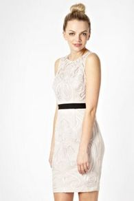 Light Pink Belted Embellished Party Dress - style: shift; length: mid thigh; neckline: round neck; fit: tailored/fitted; sleeve style: sleeveless; predominant colour: blush; secondary colour: black; occasions: evening, occasion; fibres: polyester/polyamide - stretch; waist detail: narrow waistband; back detail: keyhole/peephole detail at back; sleeve length: sleeveless; pattern type: fabric; pattern size: big & light; pattern: florals; texture group: other - light to midweight; embellishment: embroidered
