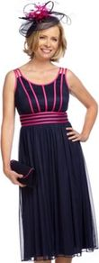 Navy &amp; Fucshia Ribbon Dress - style: empire line; length: below the knee; sleeve style: standard vest straps/shoulder straps; fit: empire; pattern: plain; secondary colour: hot pink; predominant colour: navy; neckline: scoop; fibres: polyester/polyamide - 100%; occasions: occasion; hip detail: structured pleats at hip; sleeve length: sleeveless; texture group: sheer fabrics/chiffon/organza etc.; pattern type: fabric