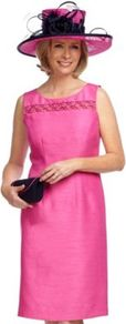 Fucshia Shimmer Shantung Shift Dress - style: shift; neckline: round neck; fit: tailored/fitted; pattern: plain; sleeve style: sleeveless; bust detail: added detail/embellishment at bust; predominant colour: hot pink; occasions: evening, occasion; length: on the knee; fibres: polyester/polyamide - 100%; sleeve length: sleeveless; texture group: sheer fabrics/chiffon/organza etc.; trends: fluorescent; pattern type: fabric; embellishment: embroidered