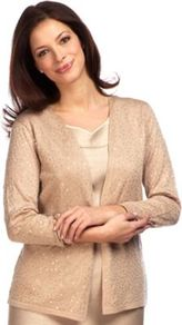 Brulee Sequin Cardigan - pattern: plain; neckline: collarless open; style: open front; predominant colour: nude; occasions: casual, evening, occasion; length: standard; fibres: cotton - mix; fit: standard fit; sleeve length: long sleeve; sleeve style: standard; texture group: knits/crochet; pattern type: knitted - fine stitch; embellishment: sequins
