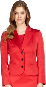 Red Occasion Jacket - pattern: plain; style: single breasted blazer; collar: standard lapel/rever collar; predominant colour: true red; length: standard; fit: tailored/fitted; fibres: polyester/polyamide - stretch; occasions: occasion; sleeve length: long sleeve; sleeve style: standard; texture group: structured shiny - satin/tafetta/silk etc.; collar break: medium; pattern type: fabric