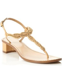 Blonde Leather Fuji Beaded T Bar Block Heel Sandal - predominant colour: nude; occasions: casual, evening, occasion, holiday; material: leather; heel height: mid; embellishment: beading; ankle detail: ankle strap; heel: block; toe: toe thongs; style: flip flops / toe post; trends: metallics; finish: plain; pattern: plain