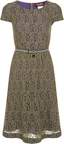 Sacha Dress - neckline: round neck; sleeve style: capped; pattern: plain; waist detail: belted waist/tie at waist/drawstring; secondary colour: purple; predominant colour: khaki; occasions: work, occasion; length: on the knee; fit: fitted at waist & bust; style: fit & flare; hip detail: soft pleats at hip/draping at hip/flared at hip; sleeve length: short sleeve; texture group: lace; pattern type: fabric; fibres: viscose/rayon - mix