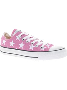 All Star Pink Star Print Ox Trainers - predominant colour: pink; occasions: casual, holiday; material: fabric; heel height: flat; toe: round toe; style: trainers; finish: plain; pattern: patterned/print