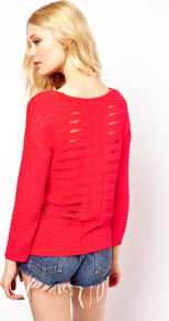 Ladder Back Jumper - neckline: round neck; pattern: plain; style: standard; predominant colour: bright orange; occasions: casual, work; length: standard; fibres: acrylic - 100%; fit: loose; back detail: embellishment at back; sleeve length: long sleeve; sleeve style: standard; texture group: knits/crochet; trends: fluorescent; pattern type: knitted - other; pattern size: standard