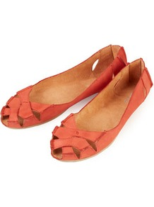 Haiti Peep Toe Cut Out Shoes - predominant colour: coral; occasions: casual, work, holiday; material: leather; heel height: flat; toe: open toe/peeptoe; style: ballerinas / pumps; finish: plain; pattern: plain