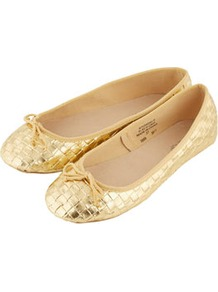 Vee Woven Metallic Ballerina Pumps - predominant colour: gold; occasions: casual, evening, work, holiday; material: faux leather; heel height: flat; toe: round toe; style: ballerinas / pumps; trends: metallics; finish: metallic; pattern: plain