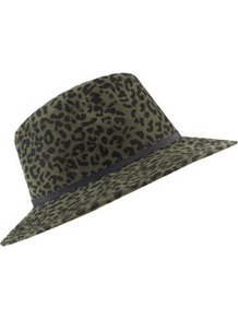 Leopard Fedora - predominant colour: dark green; occasions: casual, holiday; type of pattern: heavy; style: fedora; size: standard; material: fabric; embellishment: ribbon; pattern: animal print
