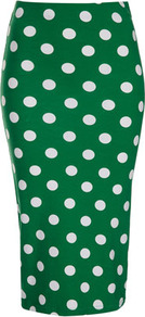 Green Spot Print Tube Skirt - length: below the knee; fit: tight; waist: high rise; pattern: polka dot; hip detail: fitted at hip; predominant colour: emerald green; occasions: casual, evening, work, holiday; fibres: cotton - stretch; style: tube; texture group: jersey - clingy; pattern type: fabric; pattern size: standard