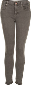 Petite Moto Skinny Leigh Jeans - style: skinny leg; pattern: plain; pocket detail: traditional 5 pocket; waist: mid/regular rise; predominant colour: charcoal; occasions: casual; length: ankle length; fibres: cotton - stretch; jeans detail: dark wash; jeans & bottoms detail: turn ups; texture group: denim; pattern type: fabric