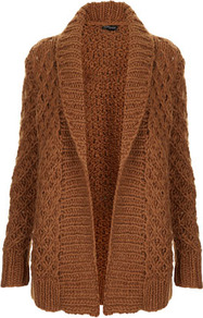 Knitted Handknit Shawl Cardi - pattern: plain; neckline: shawl; length: below the bottom; style: open front; predominant colour: tan; occasions: casual, work; fibres: acrylic - mix; fit: loose; sleeve length: long sleeve; sleeve style: standard; texture group: knits/crochet; pattern type: knitted - big stitch
