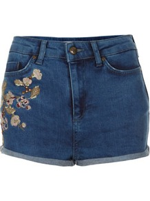 Petite Embellished Hotpant - pattern: plain; pocket detail: traditional 5 pocket; length: short shorts; waist: mid/regular rise; style: hot pants; predominant colour: indigo; occasions: casual, holiday; fibres: cotton - 100%; jeans & bottoms detail: turn ups; texture group: denim; fit: skinny/tight leg; pattern type: fabric; pattern size: small & light; embellishment: embroidered
