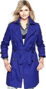 Trench Coat - pattern: plain; hip detail: side pockets at hip; style: mac; collar: standard lapel/rever collar; length: mid thigh; predominant colour: royal blue; occasions: casual, work; fit: tailored/fitted; fibres: cotton - 100%; waist detail: belted waist/tie at waist/drawstring; shoulder detail: discreet epaulette; back detail: back vent/flap at back; sleeve length: long sleeve; sleeve style: standard; texture group: cotton feel fabrics; collar break: medium; pattern type: fabric