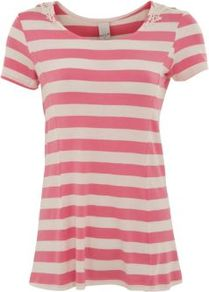 Pink Raya Stripe Top - neckline: round neck; pattern: horizontal stripes; style: t-shirt; predominant colour: pink; occasions: casual; length: standard; fibres: viscose/rayon - stretch; fit: loose; sleeve length: short sleeve; sleeve style: standard; trends: striking stripes; pattern type: fabric; pattern size: standard; texture group: jersey - stretchy/drapey
