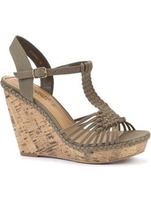 Khaki Woven Strap Cork Wedges - predominant colour: khaki; occasions: casual, holiday; material: fabric; ankle detail: ankle strap; heel: wedge; toe: open toe/peeptoe; style: strappy; finish: plain; pattern: plain; heel height: very high