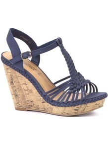 Navy Woven Strap Cork Wedges - predominant colour: navy; occasions: casual, holiday; material: fabric; ankle detail: ankle strap; heel: wedge; toe: open toe/peeptoe; style: strappy; finish: plain; pattern: plain; heel height: very high