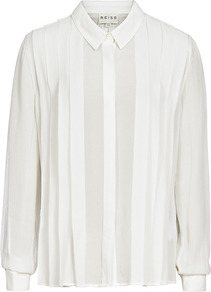 Brynn Pleated Shirt - neckline: shirt collar/peter pan/zip with opening; pattern: plain; style: shirt; bust detail: ruching/gathering/draping/layers/pintuck pleats at bust; predominant colour: white; occasions: casual, evening, work; length: standard; fibres: polyester/polyamide - 100%; fit: straight cut; shoulder detail: flat/draping pleats/ruching/gathering at shoulder; sleeve length: long sleeve; sleeve style: standard; texture group: sheer fabrics/chiffon/organza etc.; pattern type: fabric; pattern size: standard