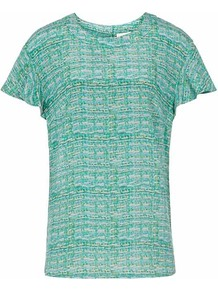 Laila Printed Silk Top - neckline: round neck; predominant colour: teal; occasions: casual, evening, work, occasion; length: standard; style: top; fibres: silk - 100%; fit: straight cut; sleeve length: short sleeve; sleeve style: standard; texture group: sheer fabrics/chiffon/organza etc.; pattern type: fabric; pattern size: standard; pattern: patterned/print