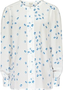 Verity Poppy Spot Contrast Placket Shirt - style: blouse; bust detail: buttons at bust (in middle at breastbone)/zip detail at bust; predominant colour: white; occasions: casual, evening, work; length: standard; fibres: silk - 100%; fit: straight cut; neckline: crew; sleeve length: long sleeve; sleeve style: standard; texture group: sheer fabrics/chiffon/organza etc.; pattern type: fabric; pattern size: small & busy; pattern: patterned/print