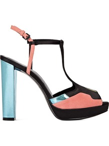 Andree Patchwork T Bar Platforms - predominant colour: black; occasions: evening, work, occasion, holiday; material: leather; heel height: high; ankle detail: ankle strap; heel: platform; toe: open toe/peeptoe; style: strappy; trends: fluorescent, metallics; finish: plain; pattern: colourblock