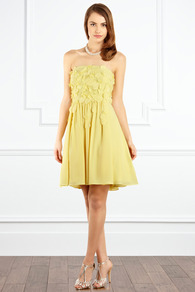 Vielle Dress - length: mid thigh; neckline: strapless (straight/sweetheart); pattern: plain; sleeve style: sleeveless; style: prom dress; bust detail: added detail/embellishment at bust; waist detail: fitted waist; back detail: low cut/open back; predominant colour: primrose yellow; occasions: evening, occasion; fit: fitted at waist & bust; fibres: polyester/polyamide - 100%; hip detail: soft pleats at hip/draping at hip/flared at hip; sleeve length: sleeveless; texture group: sheer fabrics/chiffon/organza etc.; trends: volume; pattern type: fabric; pattern size: standard; embellishment: applique