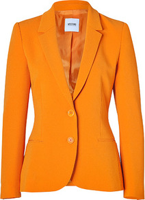 Orange Crepe Blazer - pattern: plain; style: single breasted blazer; collar: standard lapel/rever collar; predominant colour: bright orange; occasions: casual, evening, work, occasion; length: standard; fit: tailored/fitted; fibres: polyester/polyamide - mix; sleeve length: long sleeve; sleeve style: standard; texture group: crepes; collar break: medium; pattern type: fabric; pattern size: standard