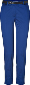 Blue Belted Cotton Blend Pants - pattern: plain; waist detail: belted waist/tie at waist/drawstring; waist: mid/regular rise; predominant colour: royal blue; occasions: casual; length: ankle length; style: chino; fibres: cotton - stretch; texture group: cotton feel fabrics; fit: slim leg; pattern type: fabric